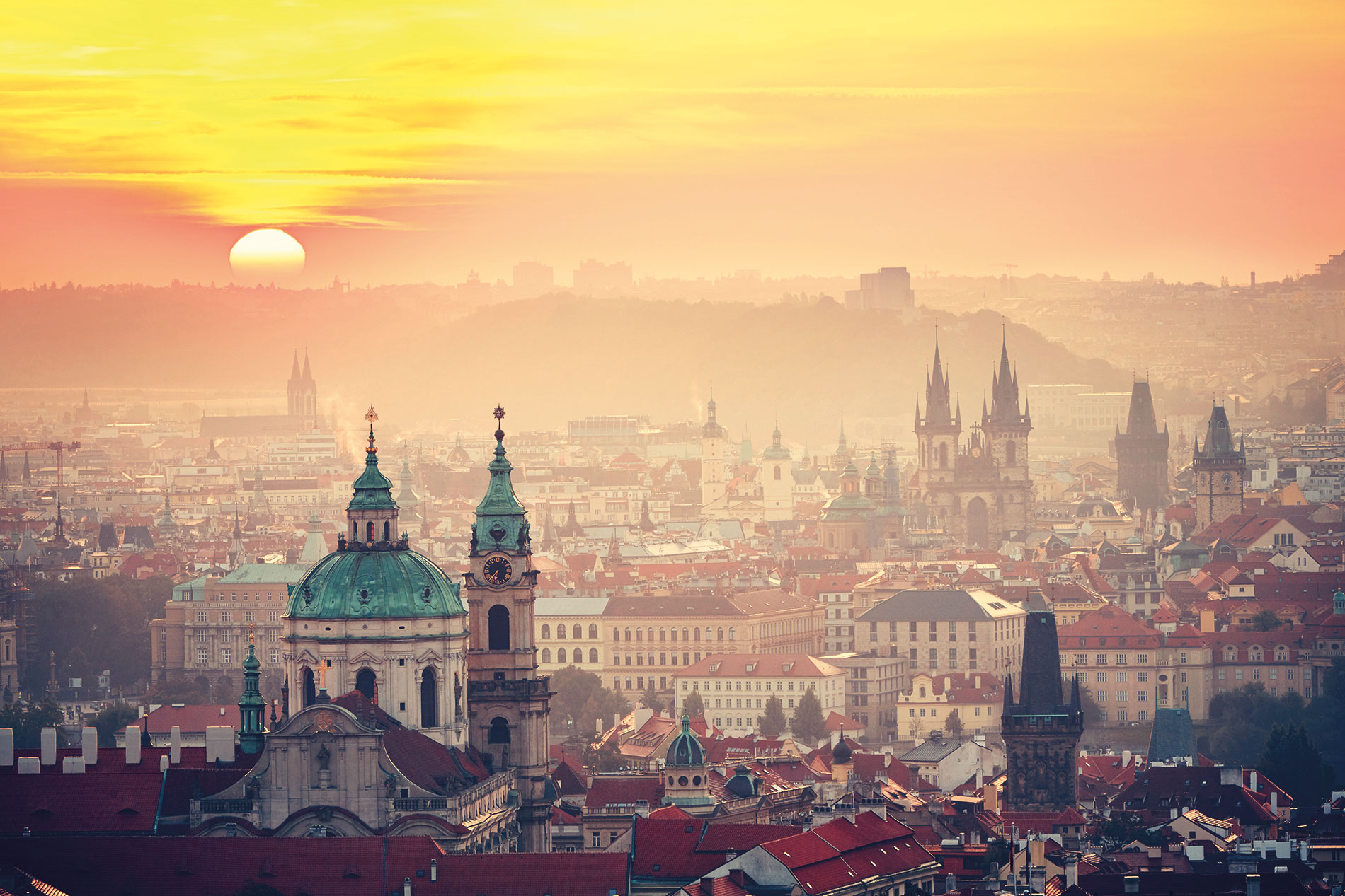 Sunset over the beautiful city of Prague, Czech Republic