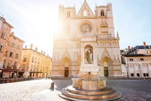 A sunny day over the cobbled streets of Lyon, France. Featuring Lyon Cathedral.