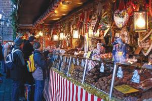 Stalls selling chocolate at Nuremberg Christmas Market in Germany