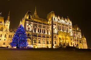 Christmas tree outside the parliament building in Budapest, Hungary