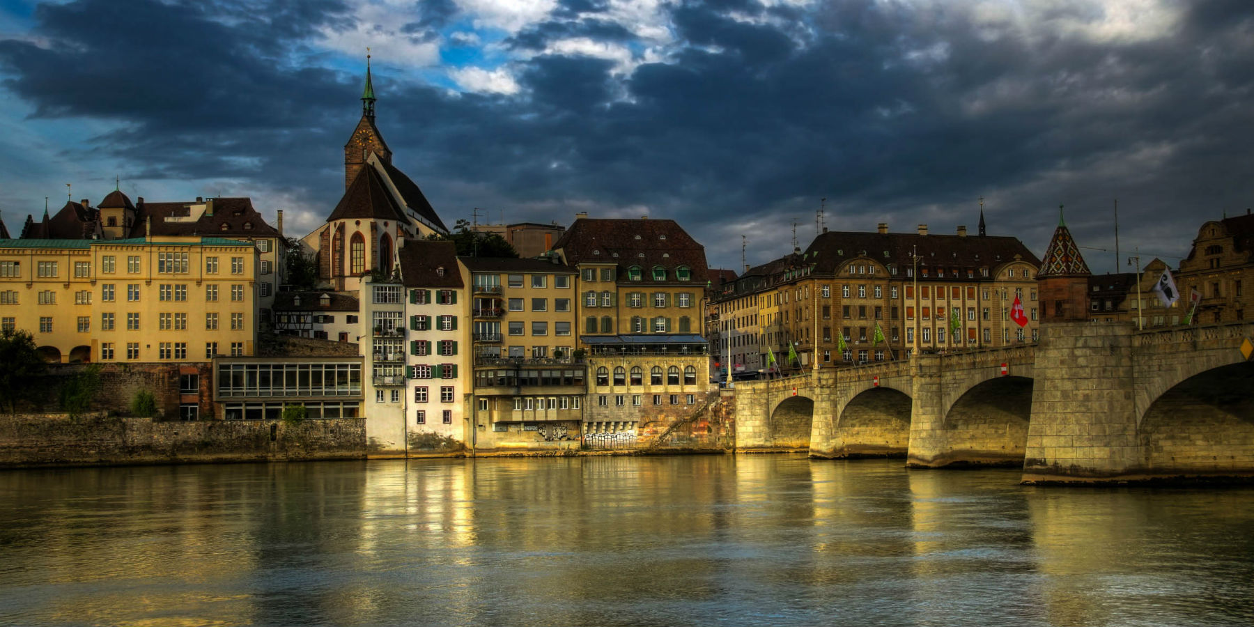 Basel old town at Dusk from across the river