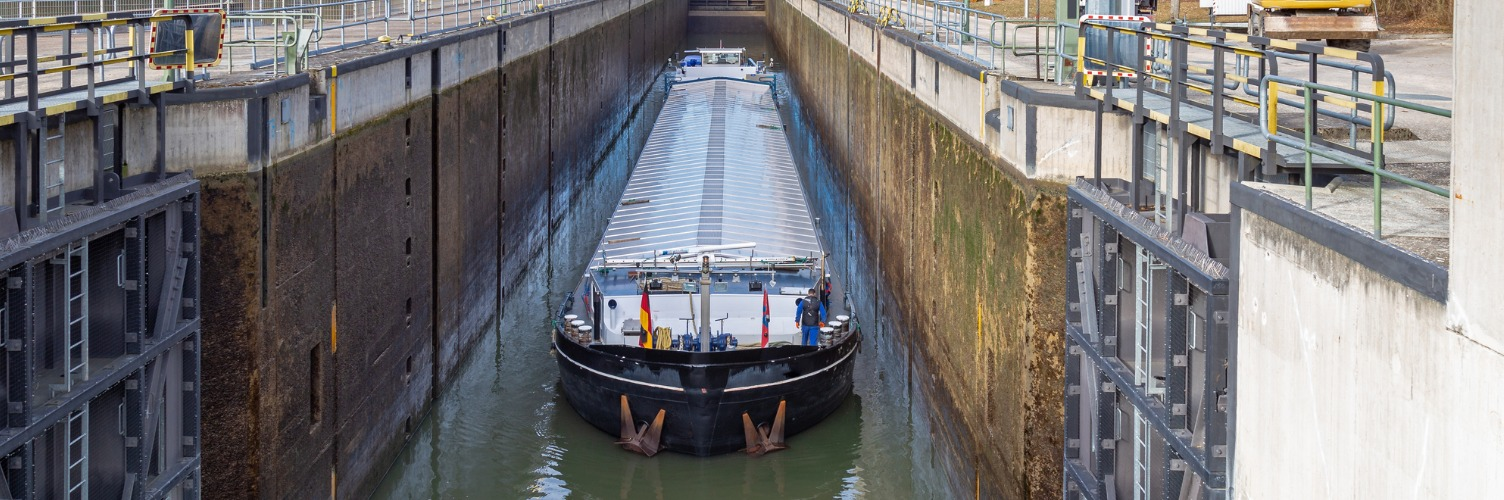 image of barge in lock
