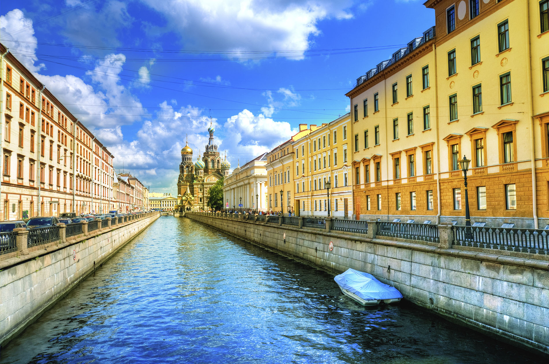 River in St Petersburg with The Church of Our Savior on Spilled Blood in the background